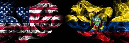 United States of America, USA vs Ecuador, Ecuadorian background abstract concept peace smokes flags.