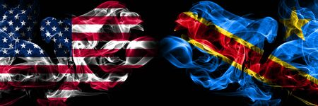 United States of America, USA vs Democratic Republic of the Congo background abstract concept peace smokes flags.