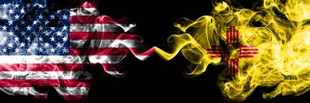 United States of America, USA vs New Mexico state background abstract concept peace smokes flags.