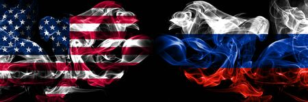 United States of America, USA vs Russia, Russian background abstract concept peace smokes flags. Stock Photo