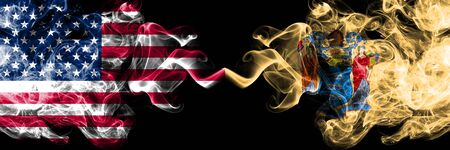 United States of America, USA vs New Jersey state background abstract concept peace smokes flags.