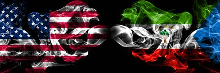 United States of America, USA vs Equatorial Guinea background abstract concept peace smokes flags. Stock Photo