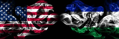 United States of America, USA vs Lesotho background abstract concept peace smokes flags.