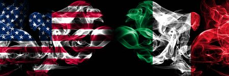 United States of America, USA vs Italy, Italian background abstract concept peace smokes flags.