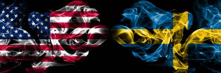 United States of America, USA vs Sweden, Swedish background abstract concept peace smokes flags.