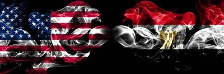 United States of America, USA vs Egypt, Egyptian background abstract concept peace smokes flags.