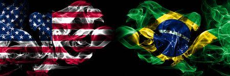 Vereinigte Staaten von Amerika, USA vs Brasilien, brasilianischer Hintergrund abstraktes Konzept Frieden raucht Flaggen.