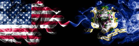 United States of America, USA vs Connecticut state background abstract concept peace smokes flags.
