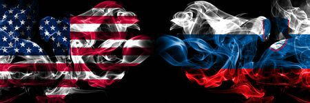 United States of America, USA vs Slovenia, Slovenian background abstract concept peace smokes flags.