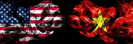 United States of America, USA vs Vietnam, Vietnamese background abstract concept peace smokes flags.