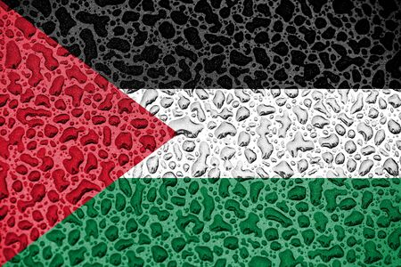 Palestine national flag made of water drops. Background forecast season concept.