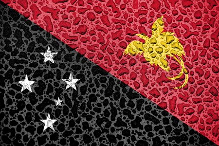 Papua New Guinea national flag made of water drops. Background forecast season concept.