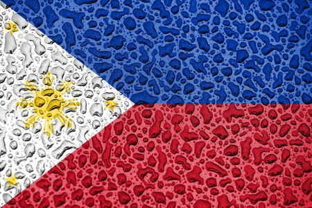 Philipines national flag made of water drops. Background forecast season concept.