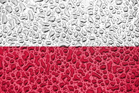 Poland national flag made of water drops. Background forecast season concept.