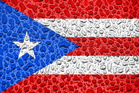 Puerto Rico national flag made of water drops. Background forecast season concept.