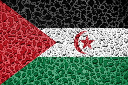 Sahrawi national flag made of water drops. Background forecast season concept.