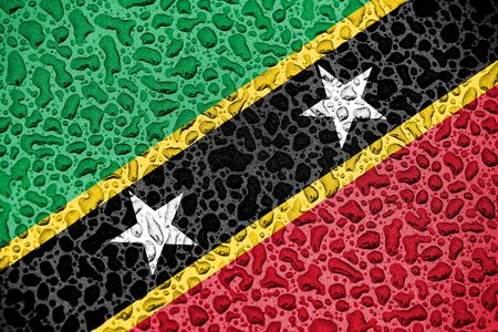 Saint Kitts and Nevis national flag made of water drops. Background forecast season concept.
