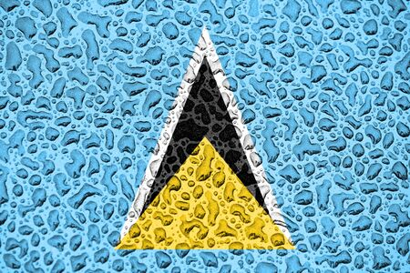 Saint Lucia national flag made of water drops. Background forecast season concept.