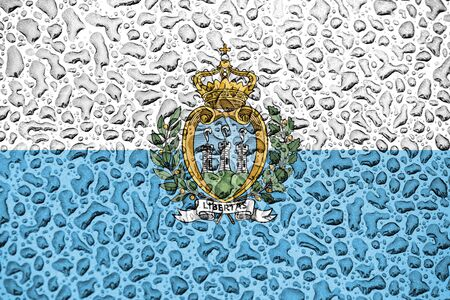 San Marino national flag made of water drops. Background forecast season concept.