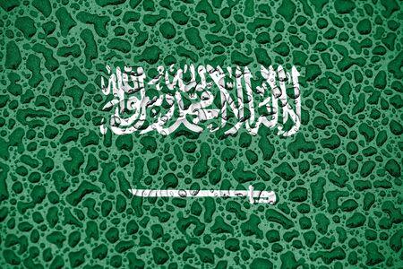 Saudi Arabia national flag made of water drops. Background forecast season concept.