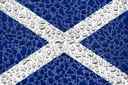 Scotland national flag made of water drops. Background forecast season concept.