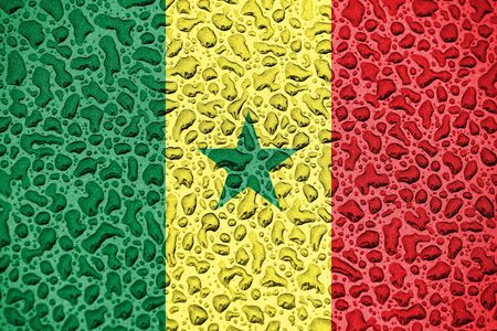 Senegal national flag made of water drops. Background forecast season concept.