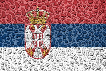 Serbia national flag made of water drops. Background forecast season concept.