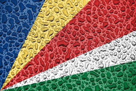 Seychelles national flag made of water drops. Background forecast season concept.