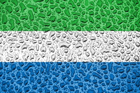 Sierra Leone national flag made of water drops. Background forecast season concept.