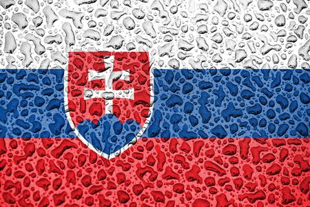 Slovakia national flag made of water drops. Background forecast season concept.