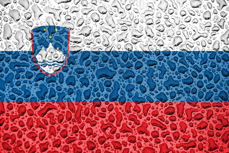 Slovenia national flag made of water drops. Background forecast season concept.