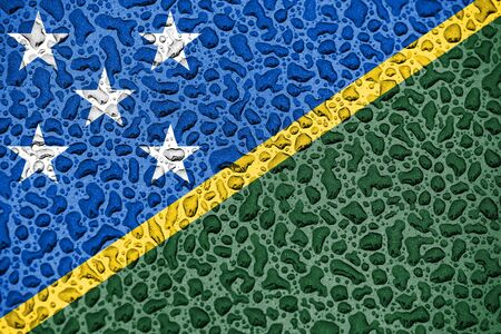 Solomon Islands national flag made of water drops. Background forecast season concept.