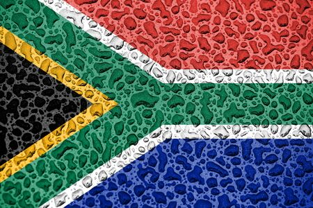 South Africa national flag made of water drops. Background forecast season concept.