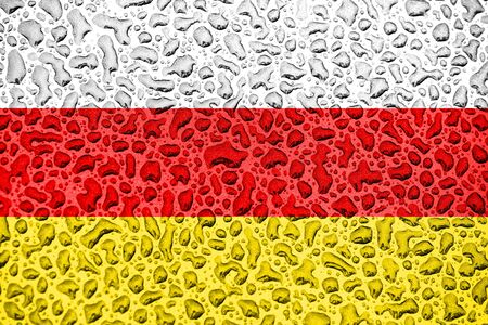 South Ossetia national flag made of water drops. Background forecast season concept. Фото со стока