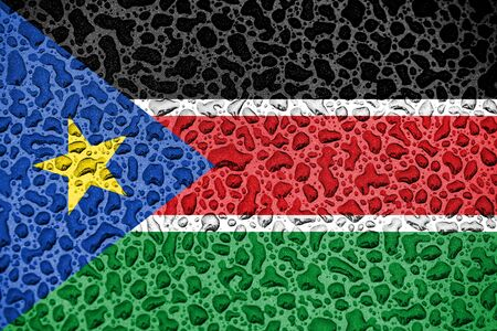 South Sudan national flag made of water drops. Background forecast season concept. Фото со стока