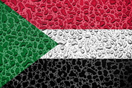 Sudan national flag made of water drops. Background forecast season concept.