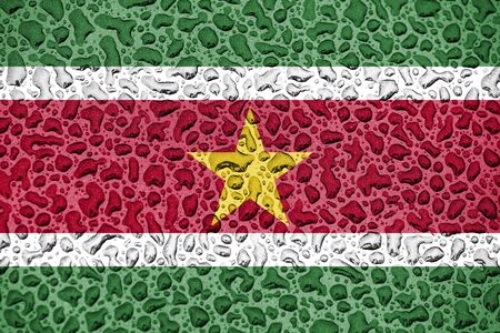 Suriname national flag made of water drops. Background forecast season concept. Фото со стока