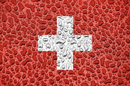 Switzerland national flag made of water drops. Background forecast season concept. Фото со стока