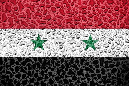 Syria national flag made of water drops. Background forecast season concept. Фото со стока