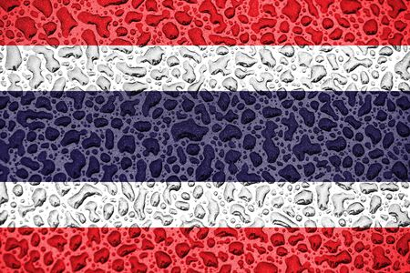 Thailand national flag made of water drops. Background forecast season concept.