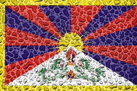 Tibet  national flag made of water drops. Background forecast season concept. Фото со стока