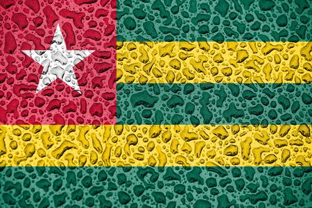Togo national flag made of water drops. Background forecast season concept.