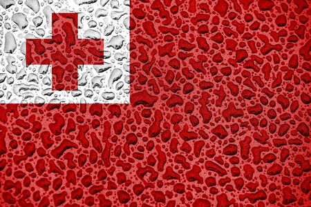 Tonga national flag made of water drops. Background forecast season concept.