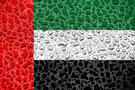 United Arab Emirates national flag made of water drops. Background forecast season concept.