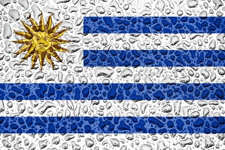 Uruguay national flag made of water drops. Background forecast season concept.