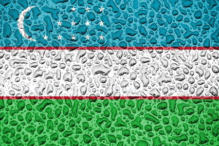 Uzbekistan national flag made of water drops. Background forecast season concept.