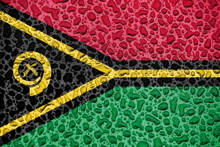 Vanuatu national flag made of water drops. Background forecast season concept.