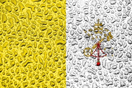 Vatican national flag made of water drops. Background forecast season concept. Фото со стока