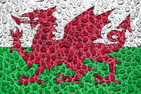 Wales national flag made of water drops. Background forecast season concept.