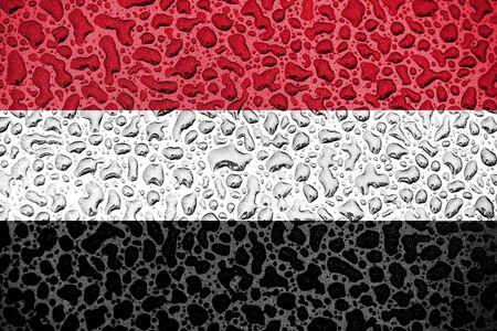 Yemen national flag made of water drops. Background forecast season concept.
